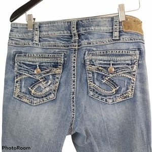 Silver Suki Distressed Light Wash Jeans sz 14